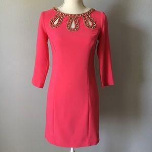 Lilly Pulitzer Pink Sheath Dress Size 0 3/4 Sleeve